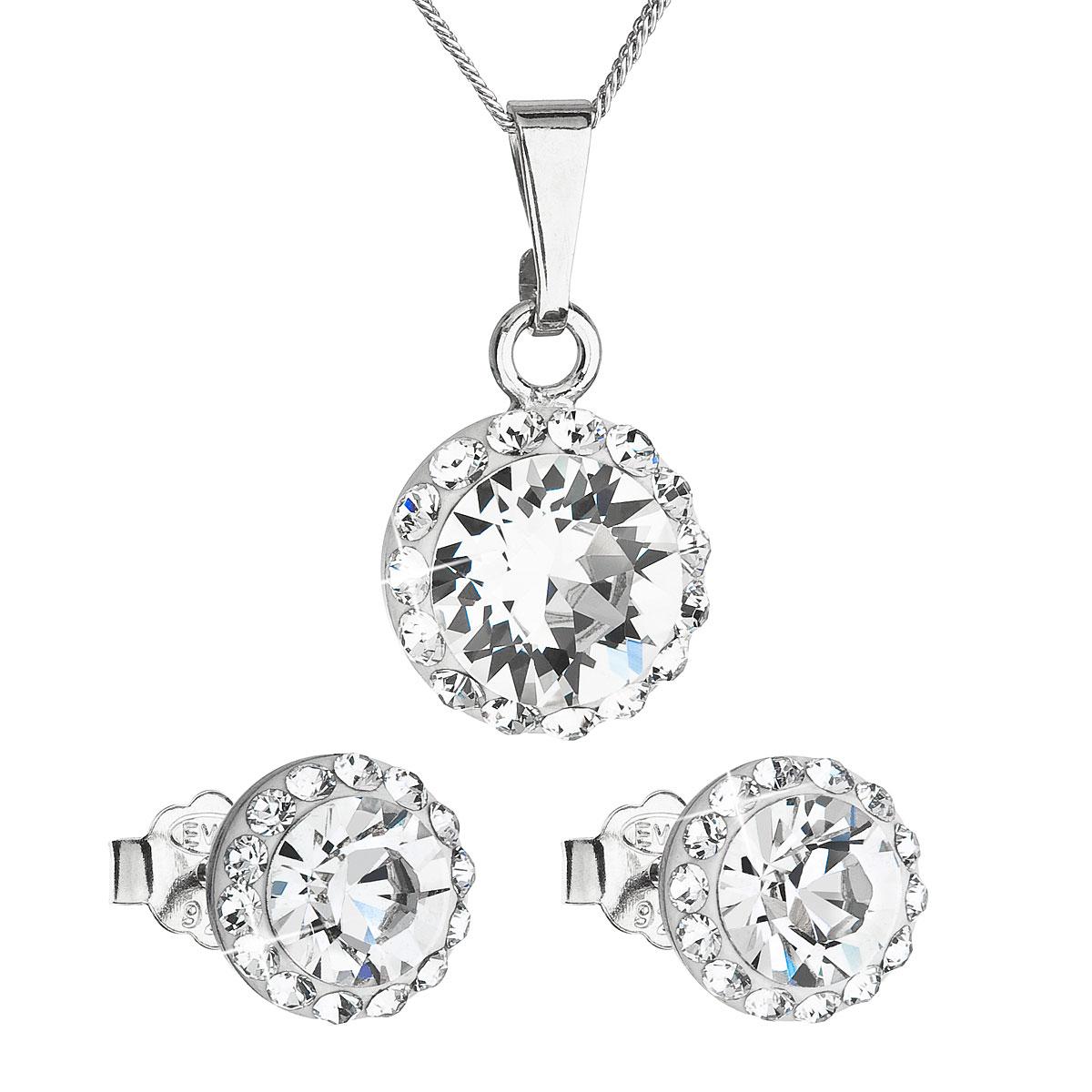 Sada šperkov s krištáľmi Swarovski náušnice, retiazka a prívesok biele okrúhle 39152.1