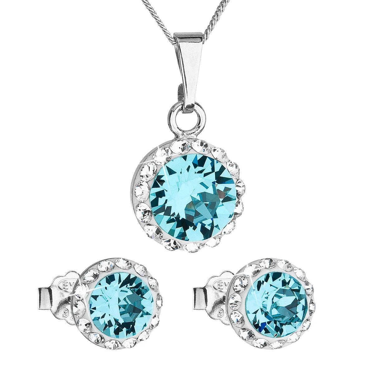 Sada šperkov s krištáľmi Swarovski náušnice, retiazka a prívesok modré okrúhle 39152.3
