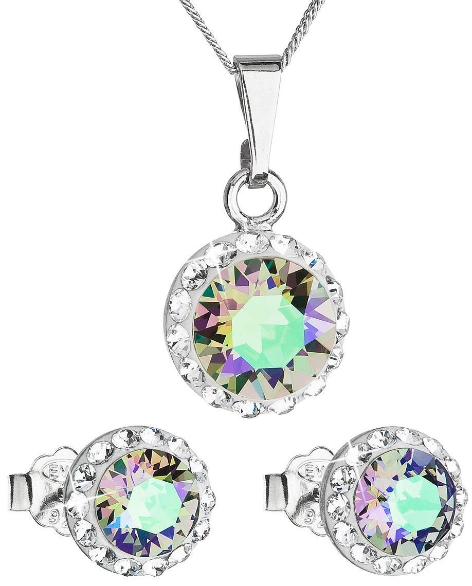 4e6206736 Sada šperkov s krištáľmi Swarovski náušnice a prívesok zelené fialové  okrúhle 39152.5