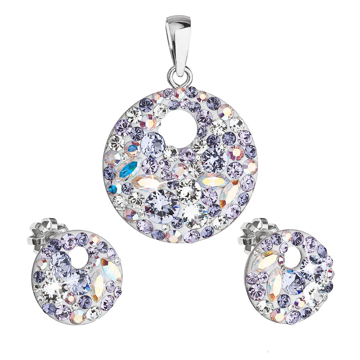 Sada šperkov s kryštálmi Swarovski náušnice a prívesok fialové guľaté 39148.3 violet