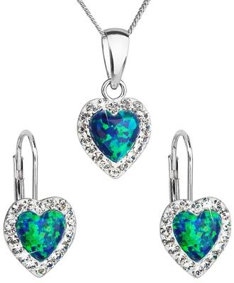 b2615e56e Sada šperkov so syntetickým opálom a krištáľmi Swarovski náušnice a prívesok  zelené srdce 39161.1