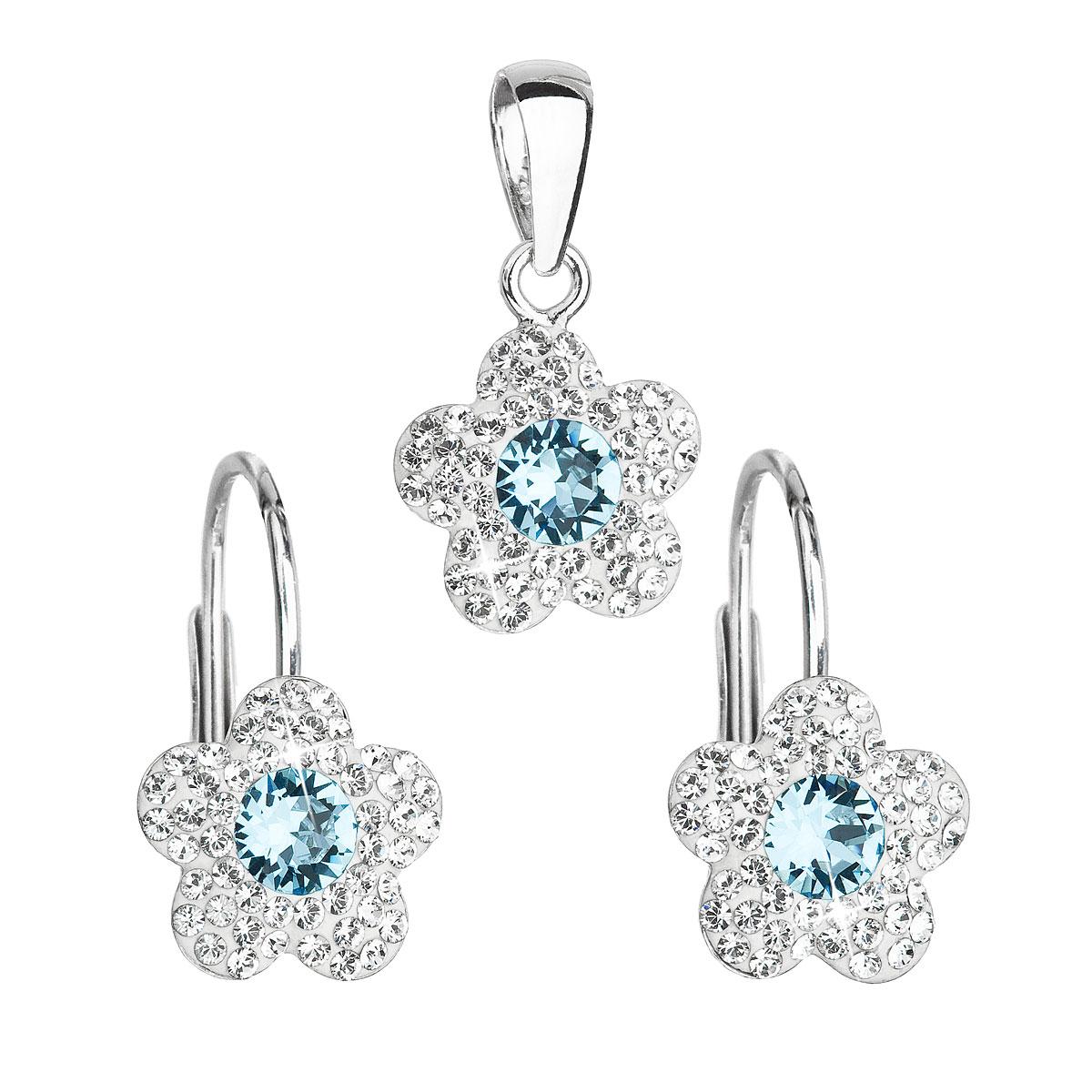 Sada šperkov s krištáľmi Swarovski náušnice a prívesok modrá kytička 39162.3