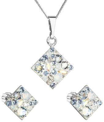 Sada šperkov s krištáľmi Swarovski náušnice a prívesok mix farieb  kosoštvorec 39126.3 light sapphire c3c21e49b1a