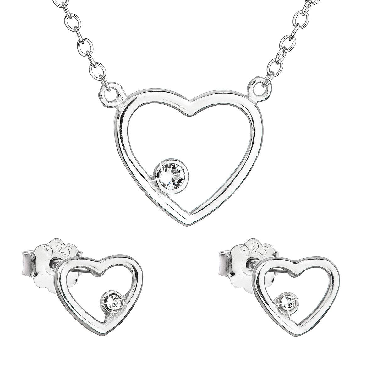 Sada šperkov s krištáľmi Swarovski náušnice a náhrdelník biele srdce 39163.1