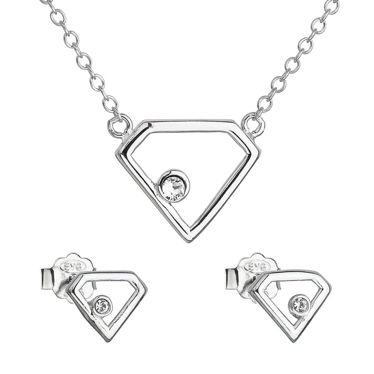 Sada šperkov s krištálmi Swarovski náušnice a náhrdelník biely trojuholník 39165.1