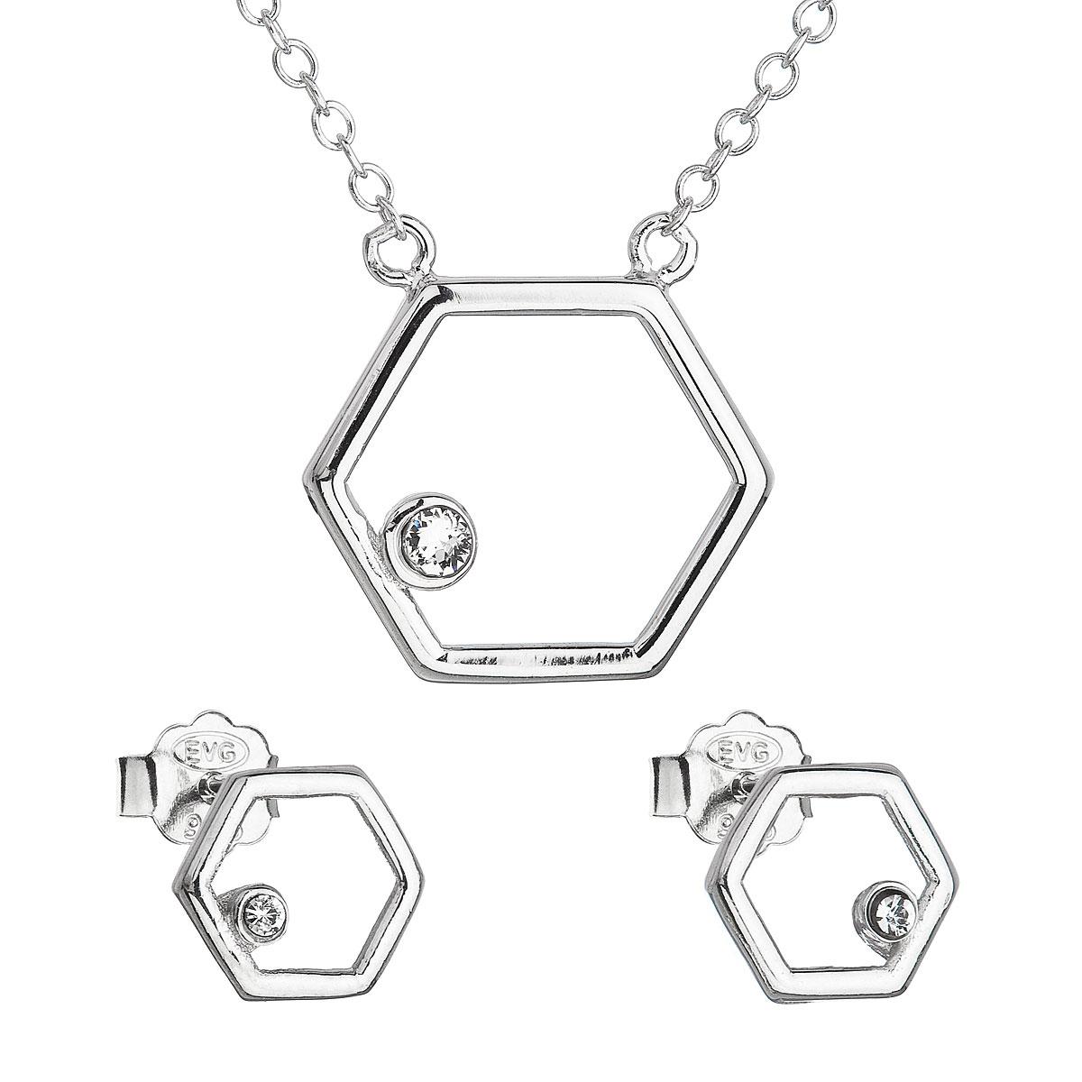 Sada šperkov s krištálmi Swarovski náušnice a náhrdelník biely hexagon 39166.1
