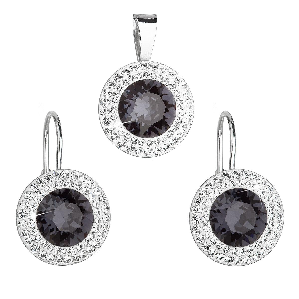 Sada šperkov s krištáľmi Swarovski náušnice a prívesok čierne okrúhle 39107.3