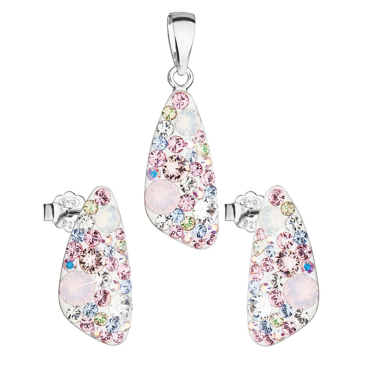 Sada šperkov s krištáľmi Swarovski náušnice a prívesok mix farieb ružový 39167.3 magic rose