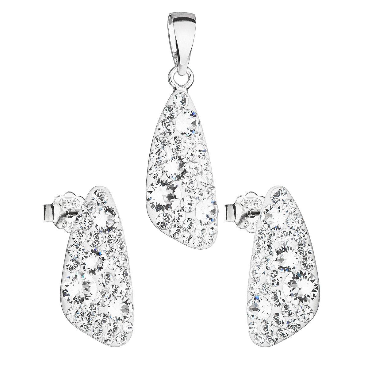 Sada šperkov s krištáľmi Swarovski náušnice a prívesok biely 39167.1
