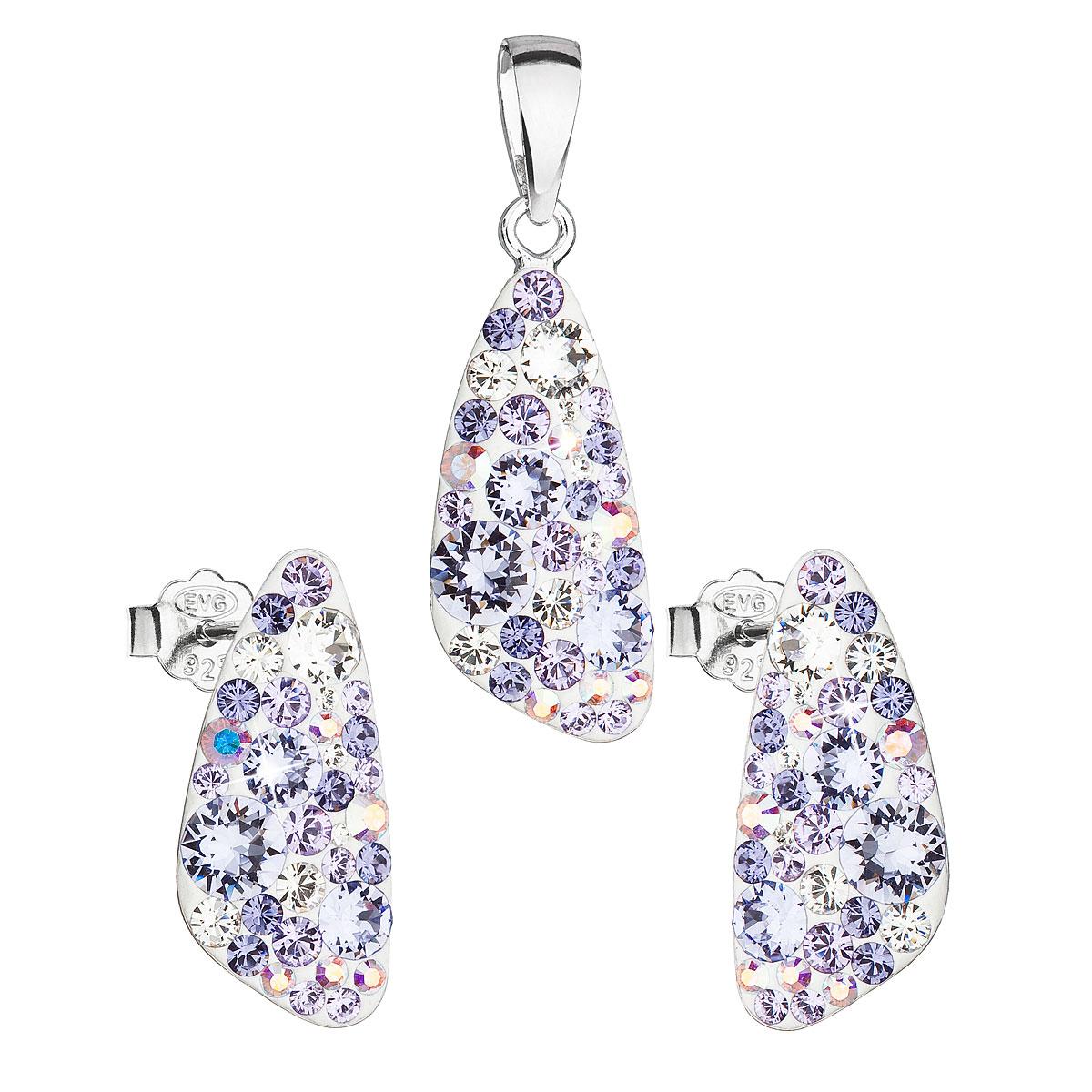 Sada šperkov s krištáľmi Swarovski náušnice a prívesok fialový 39167.3 violet