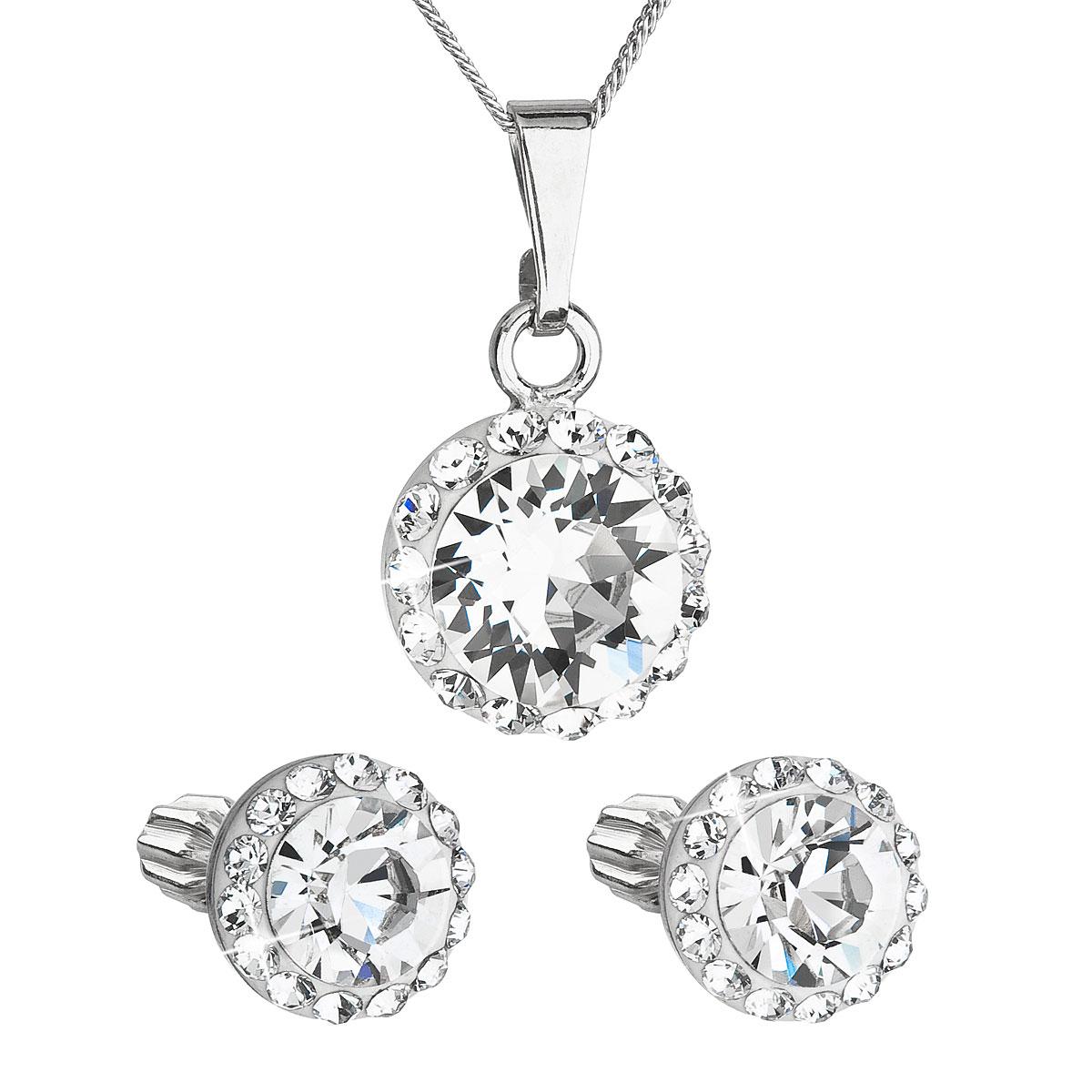 Sada šperkov s krištálmi Swarovski náušnice, retiazka a prívesok biele okrúhle 39352.1