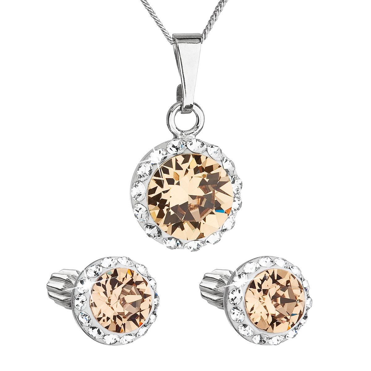 Sada šperkov s krištálmi Swarovski náušnice, retiazka a prívesok hnedé oranžové okrúhle 39352.3 light colorado topaz
