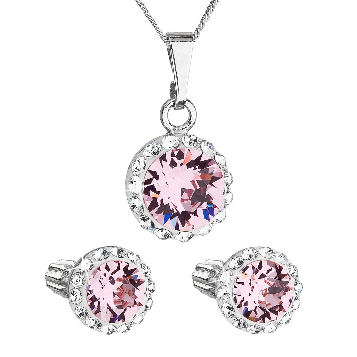 Sada šperkov s krištálmi Swarovski náušnice, retiazka a prívesok ružové okrúhle 39352.3 light rose