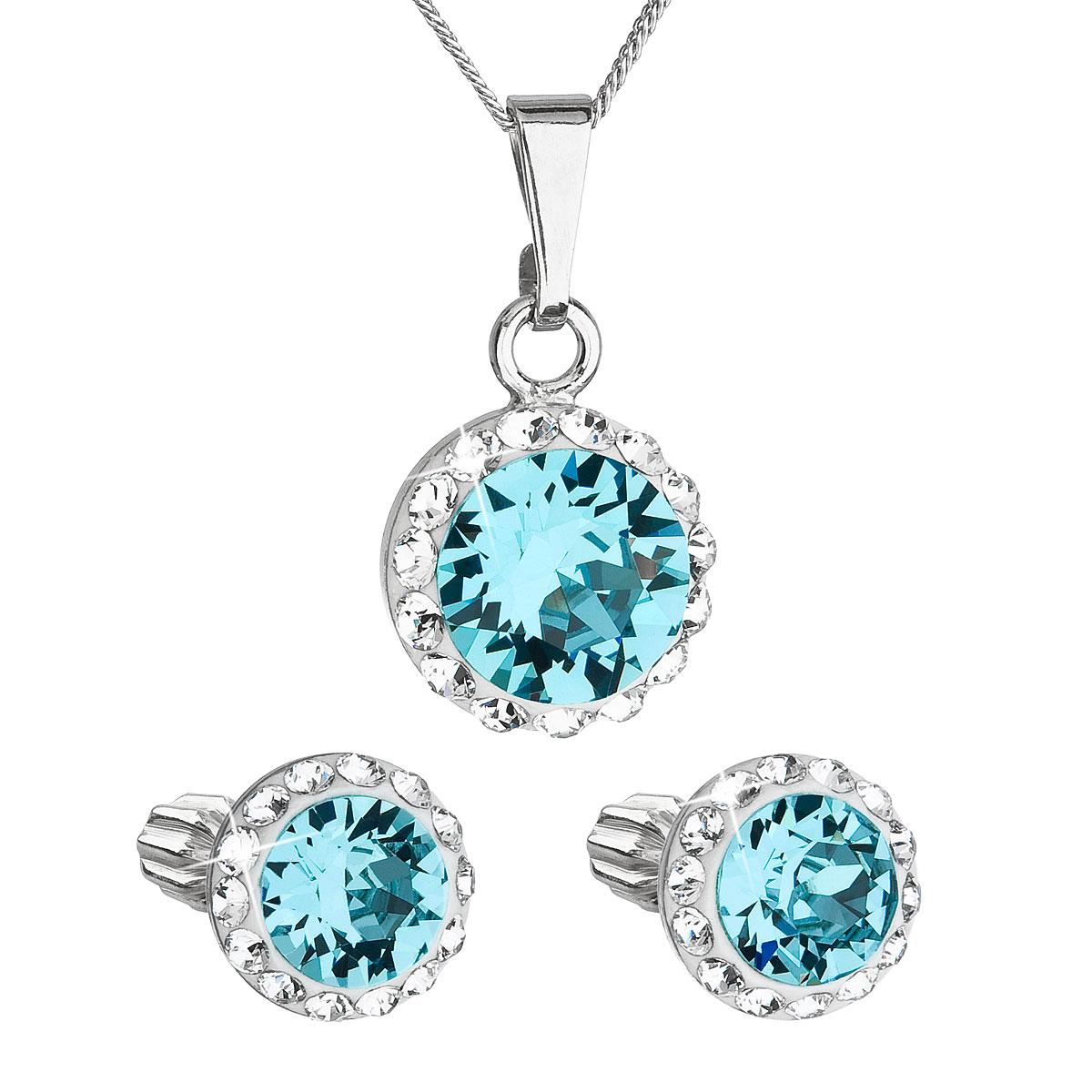 Sada šperkov s krištálmi Swarovski náušnice, retiazka a prívesok modré okrúhle 39352.3