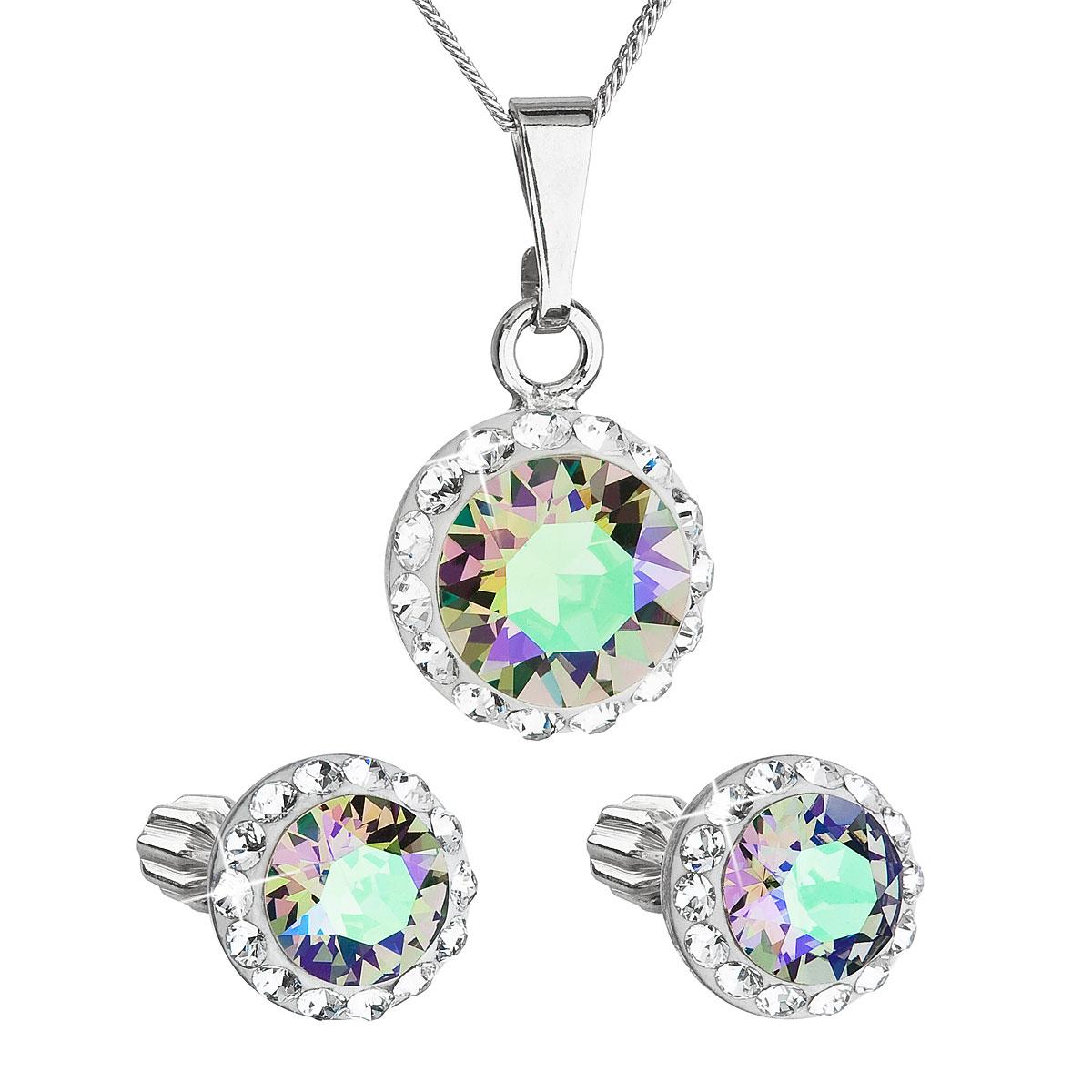 Sada šperkov s krištálmi Swarovski náušnice,retiazka a prívesok zelené fialové okrúhle 39352.5 paradise shine