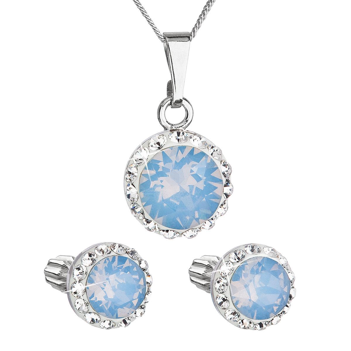 Sada šperkov s krištálmi Swarovski náušnice,retiazka a prívesok modré opálové okrúhle 39352.7