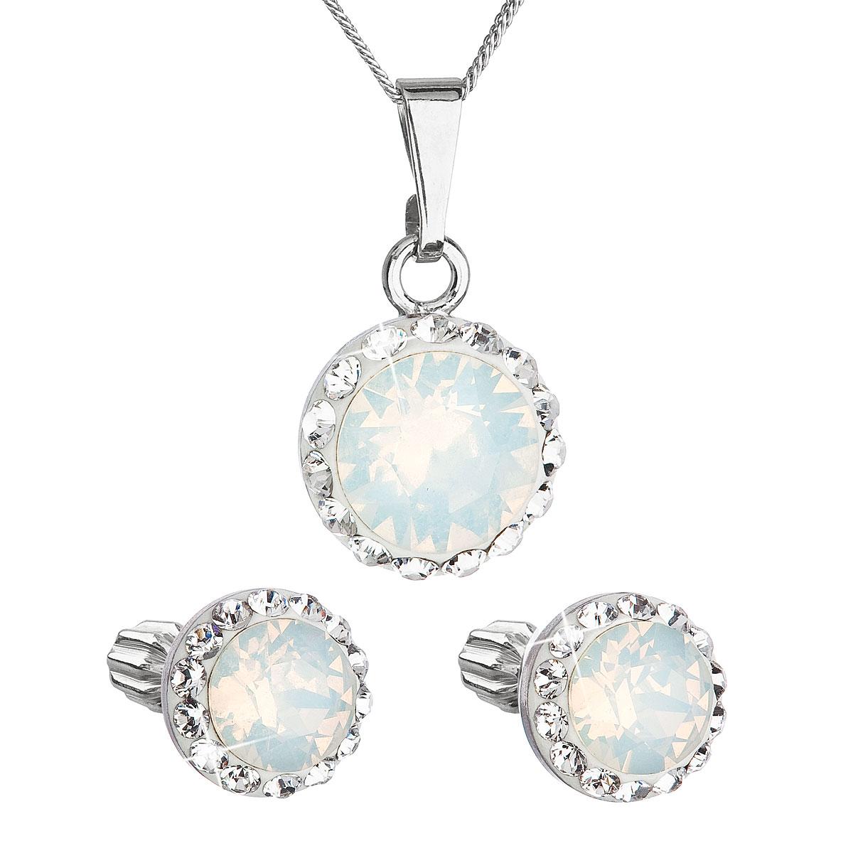 Sada šperkov s krištálmi Swarovski náušnice,retiazka a prívesok biele opálové okrúhle 39352.7