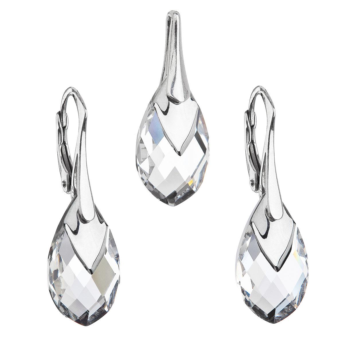 Sada šperkov s krištálmi Swarovski náušnice a prívesok striebrošedá slza 39169.4