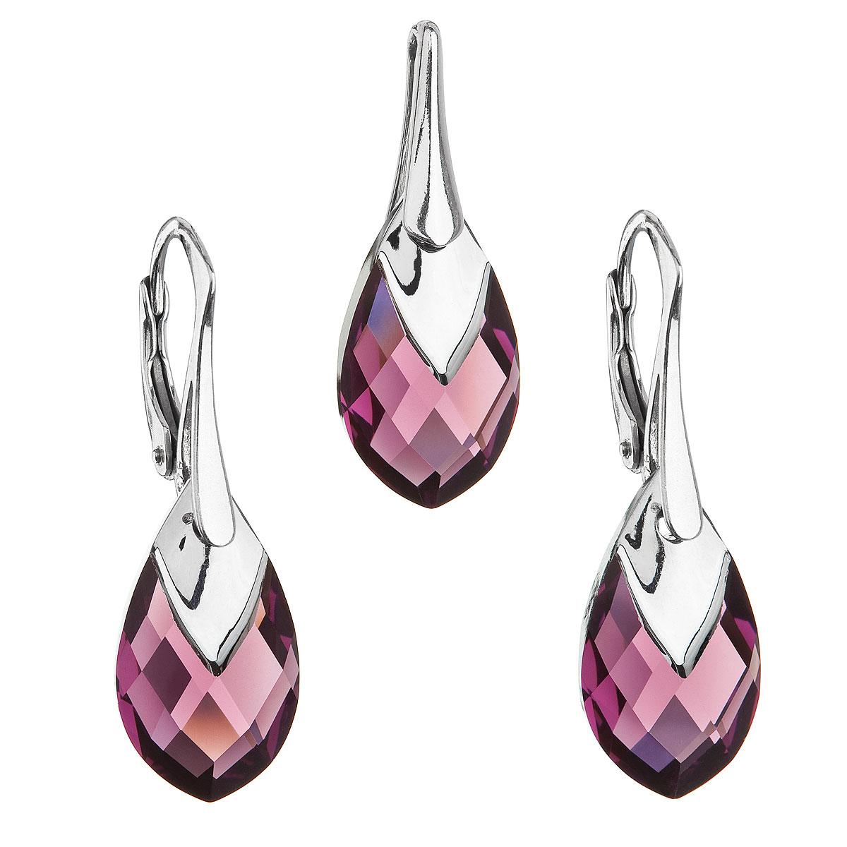 Sada šperkov s krištálmi Swarovski náušnice a prívesok fialová slza 39169.4 amethyst
