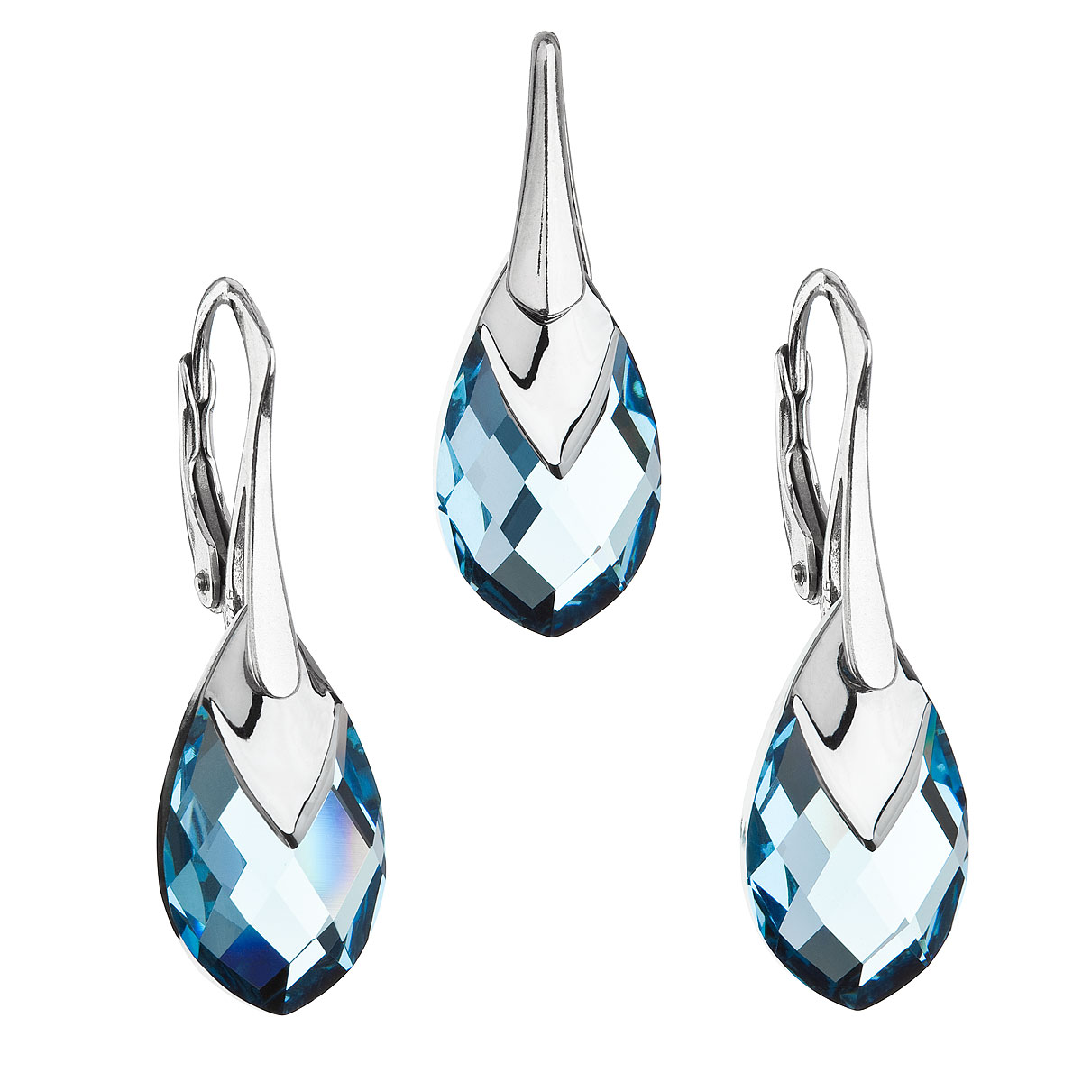 Sada šperkov s krištálmi Swarovski náušnice a prívesok modrá slza 39169.4