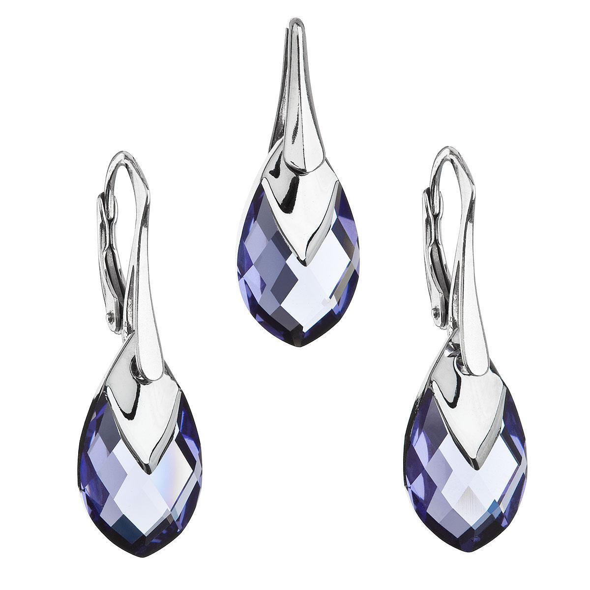 Sada šperkov s krištálmi Swarovski náušnice a prívesok fialová slza 39169.4 tanzanite