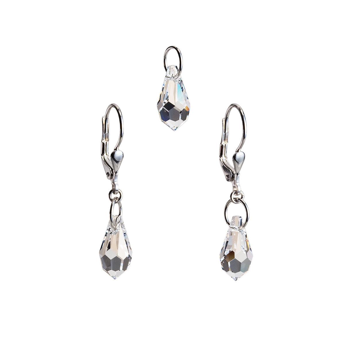 Sada šperkov s krištálmi Swarovski náušnice a prívesok biela slza 39029.1
