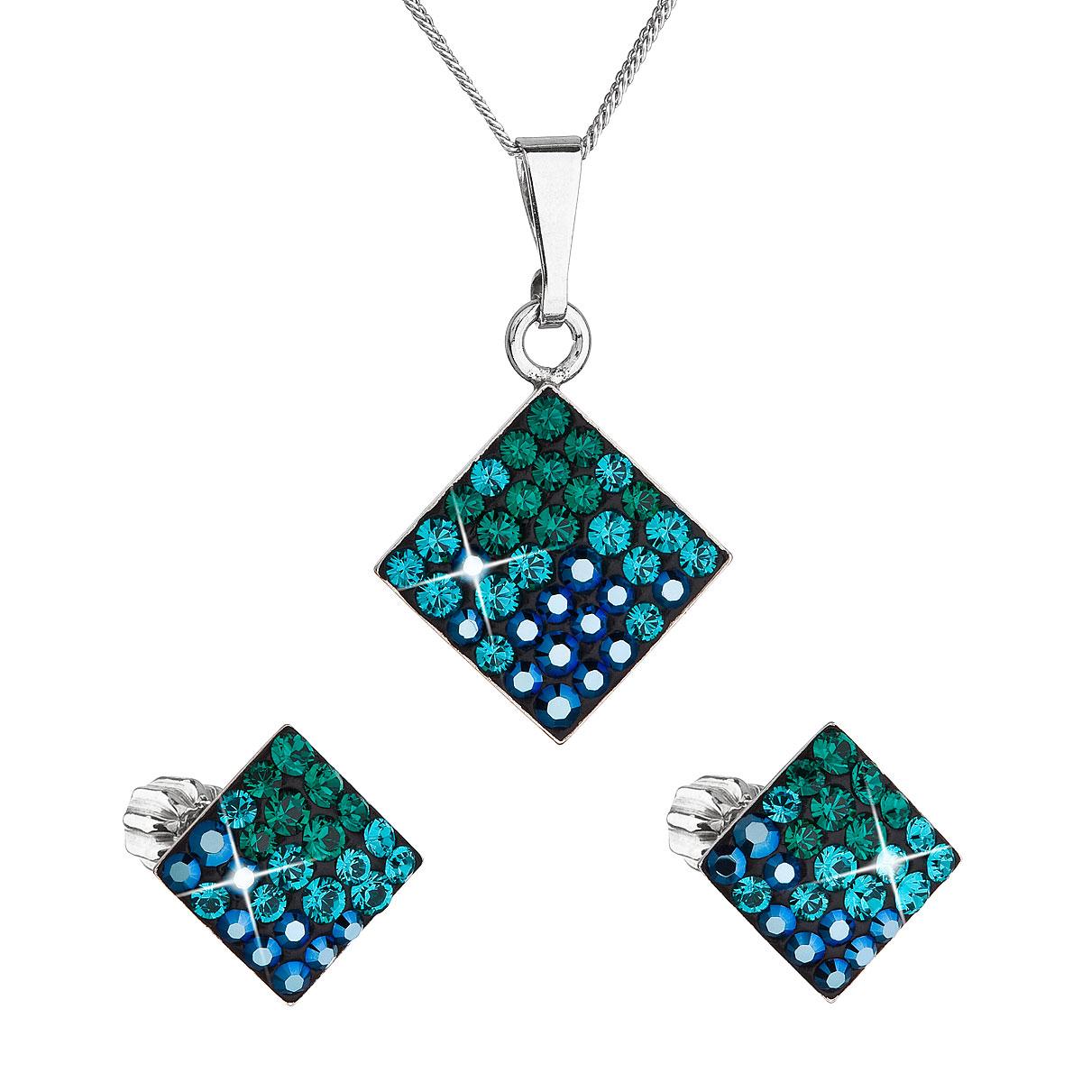 Sada šperkov s krištálmi Swarovski náušnice, retiazka a prívesok zelený kosoštvorec 39126.3 magic green