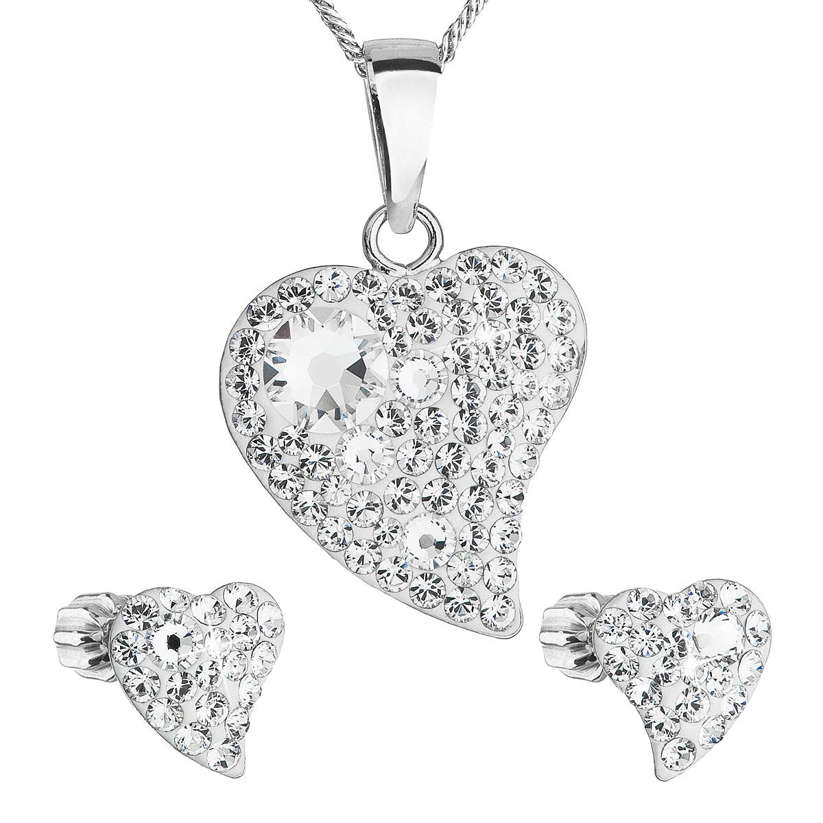 Sada šperkov s krištálmi Swarovski náušnice,retiazka a prívesok biele srdce 39170.1