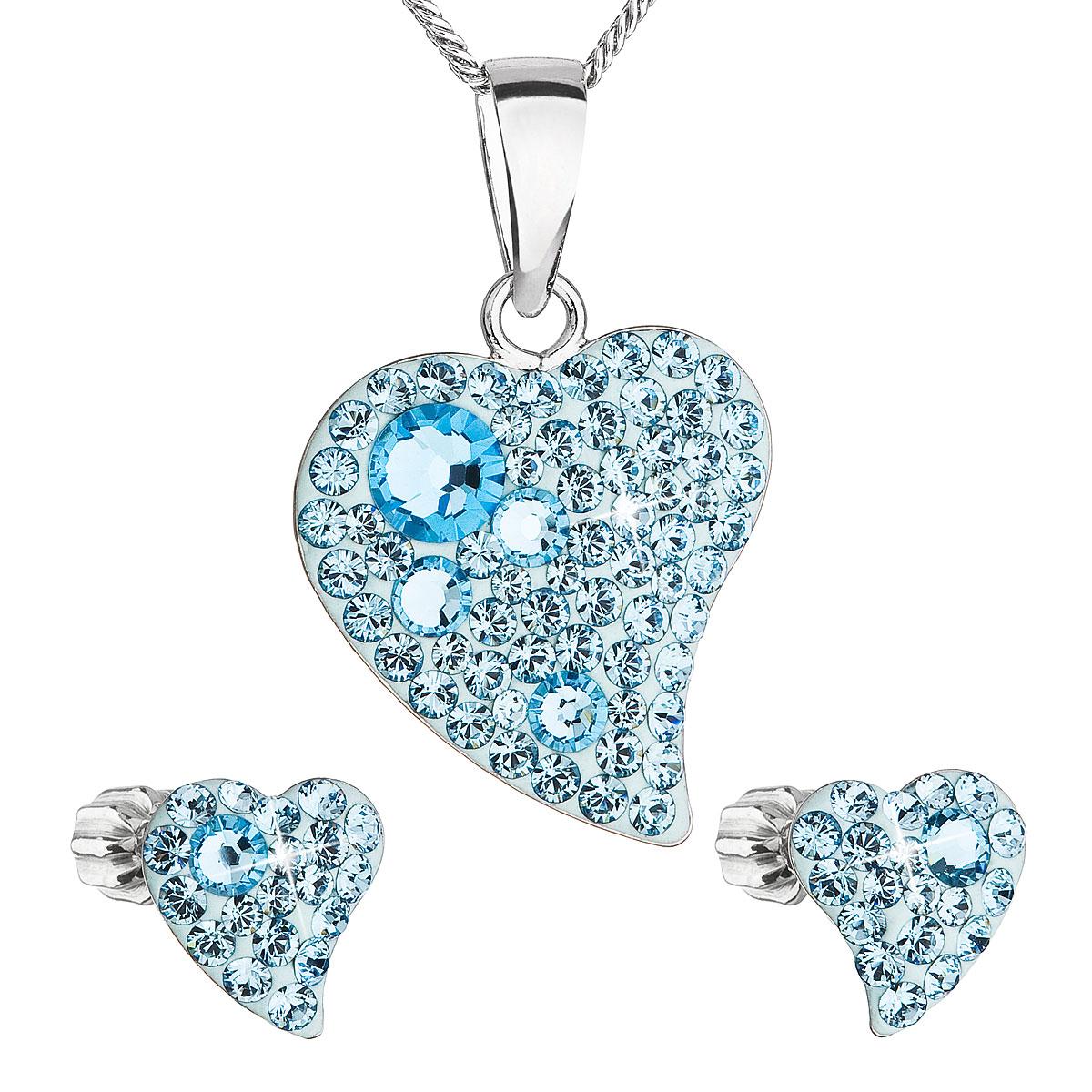 Sada šperkov s krištálmi Swarovski náušnice,retiazka a prívesok modrá srdce 39170.3