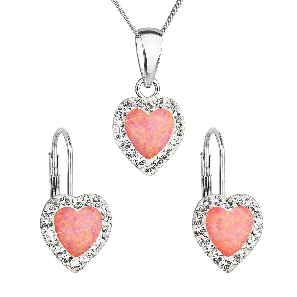 Sada šperkov so syntetickým opálom a krištálmi Swarovski náušnice a prívesok oranžové srdce 39161.1