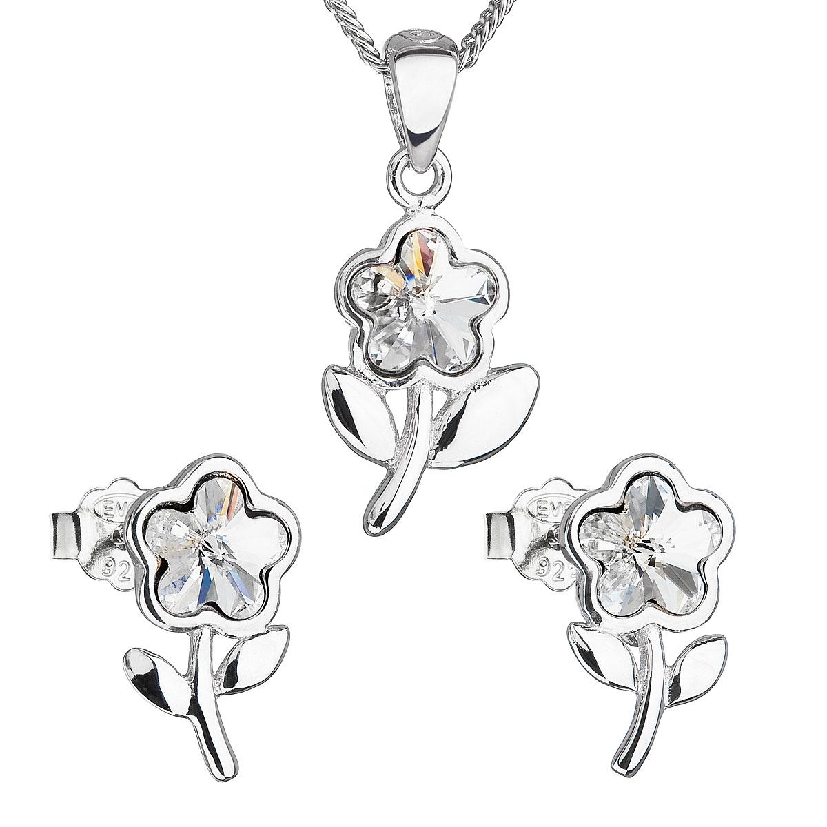 Sada šperkov s krištálmi Swarovski náušnice,retiazka a prívesok biela kytička 39172.1