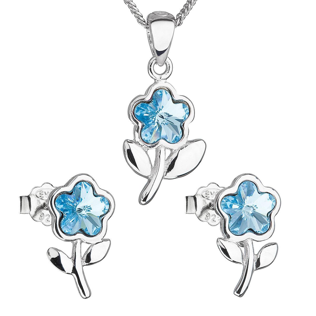 Sada šperkov s krištálmi Swarovski náušnice,retiazka a prívesok modrá kytička 39172.3