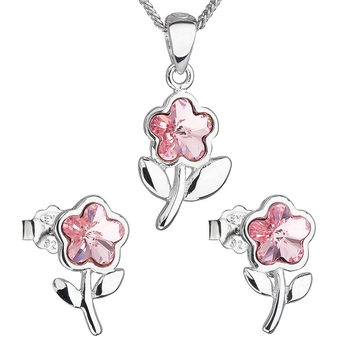 Sada šperkov s krištálmi Swarovski náušnice,retiazka a prívesok ružová kytička 39172.3 light rose