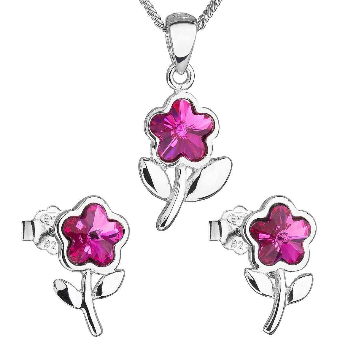 Sada šperkov s krištálmi Swarovski náušnice,retiazka a prívesok ružová kytička 39172.3 fuchsia