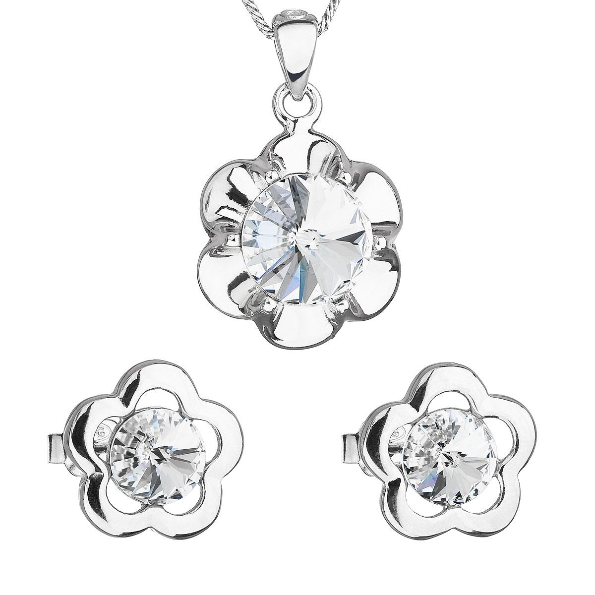 Sada šperkov s krištálmi Swarovski náušnice,retiazka a prívesok biela kytička 39173.1