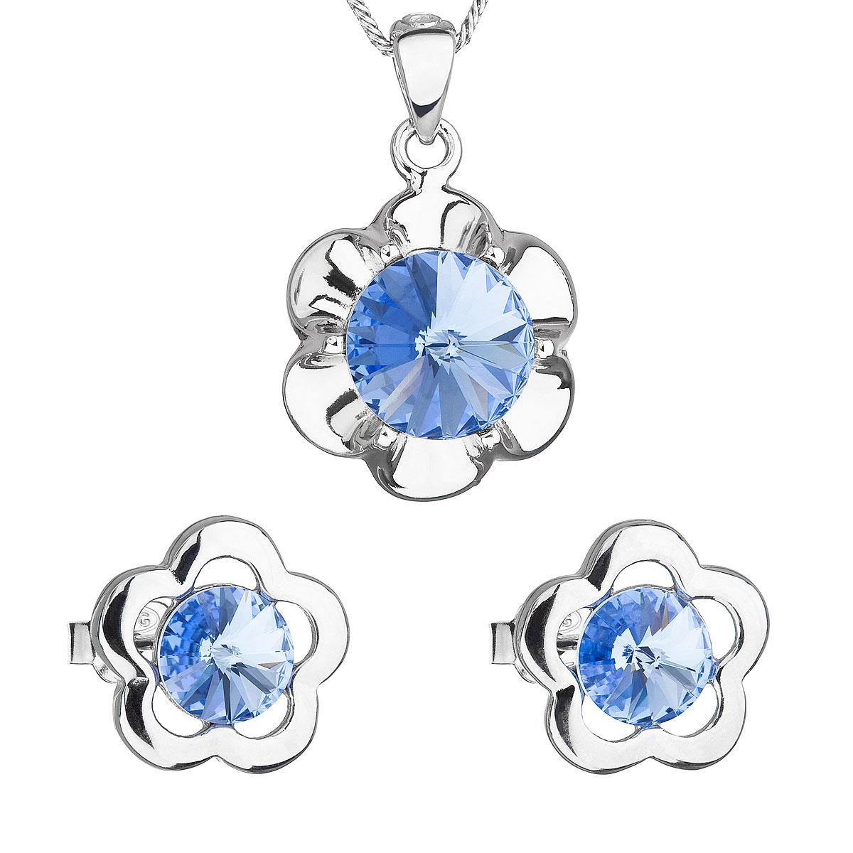 Sada šperkov s krištálmi Swarovski náušnice,retiazka a prívesok modrá kytička 39173.3