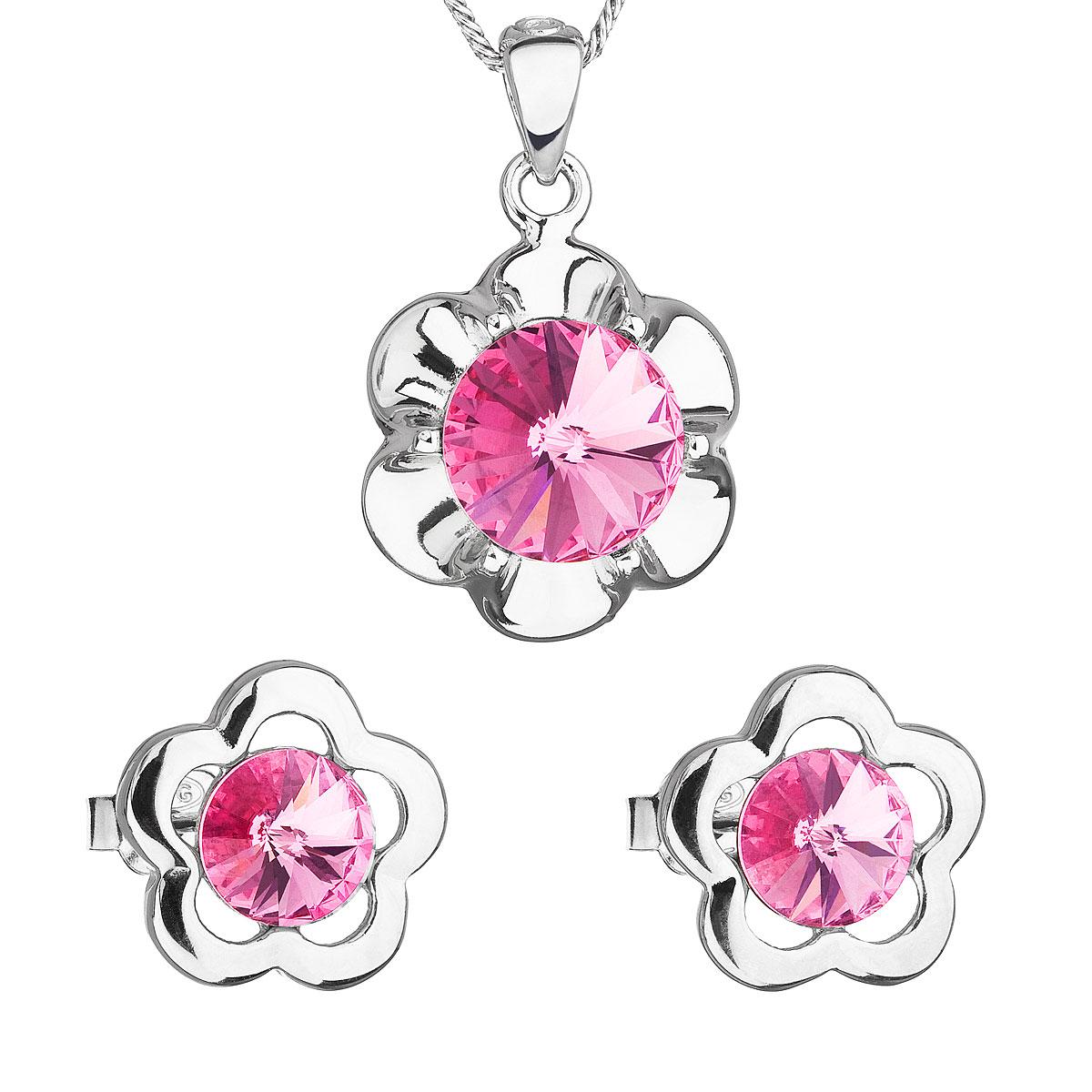 Sada šperkov s krištálmi Swarovski náušnice,retiazka a prívesok ružová kytička 39173.3