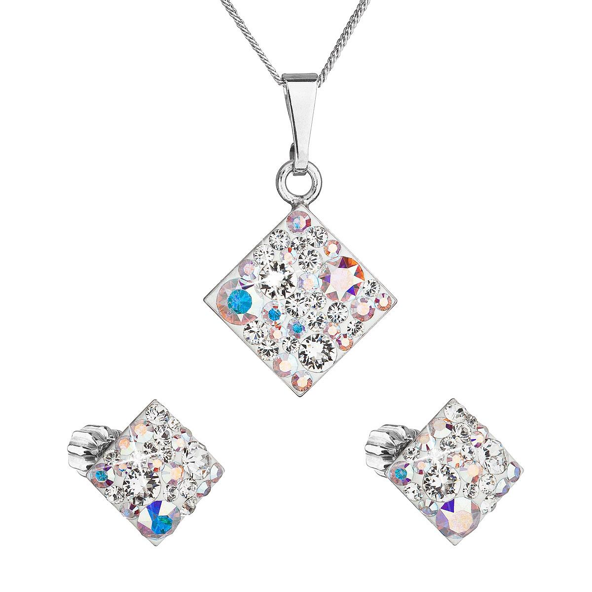 Sada šperkov s krištálmi Swarovski náušnice, retiazka a prívesok ab efekt kosoštvorec 39126.2