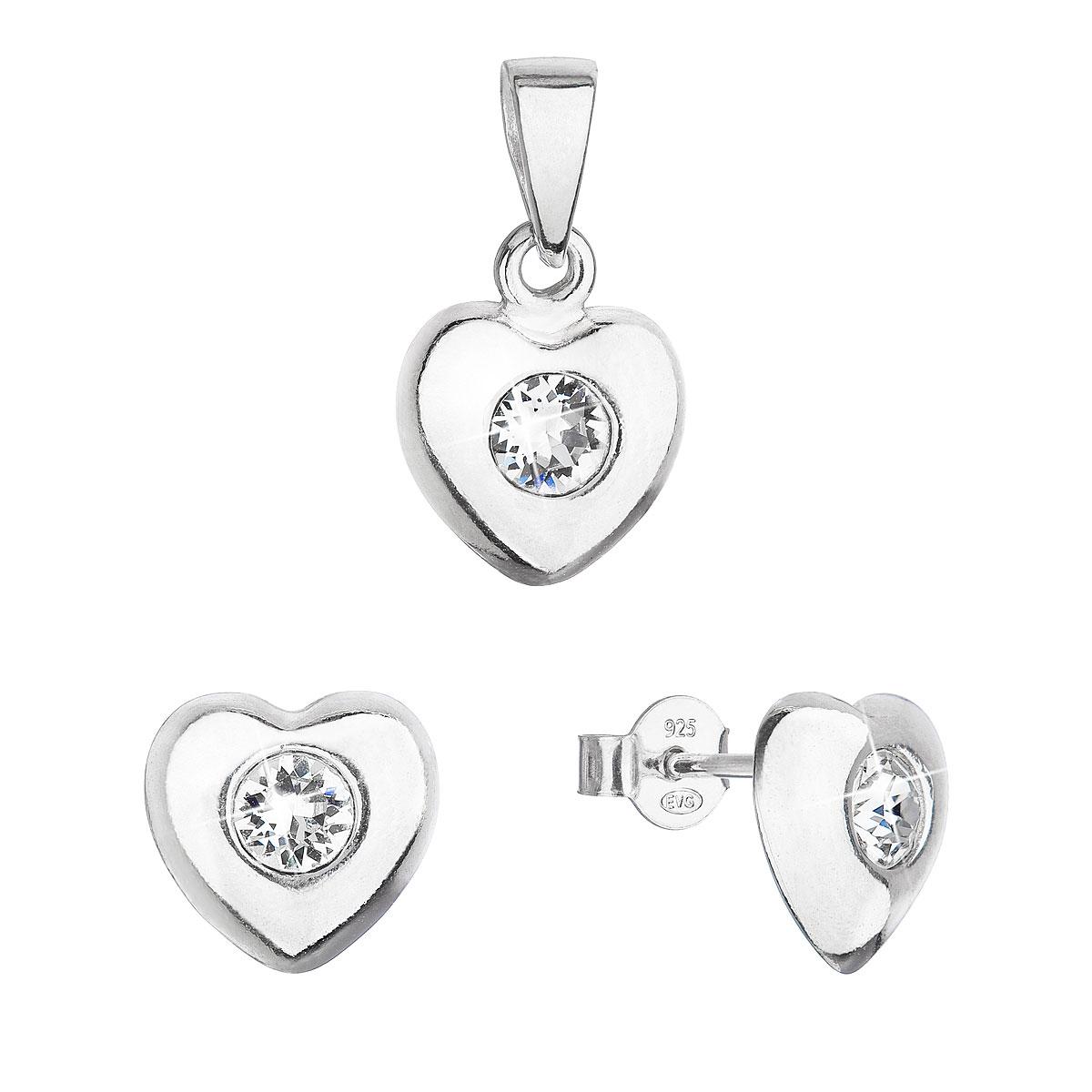 Sada šperkov s kryštálmi Swarovski náušnice a prívesok biele srdce 39176.1