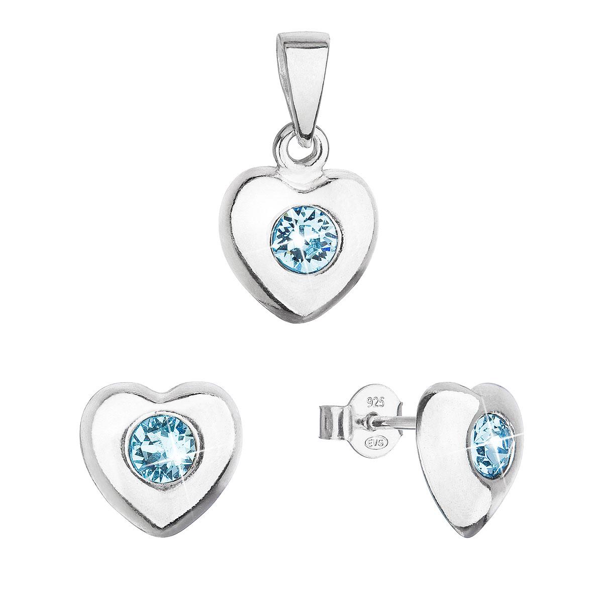Sada šperkov s kryštálmi Swarovski náušnice a prívesok modré srdce 39176.3