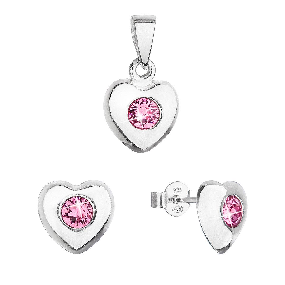 Sada šperkov s kryštálmi Swarovski náušnice a prívesok ružové srdce 39176.3
