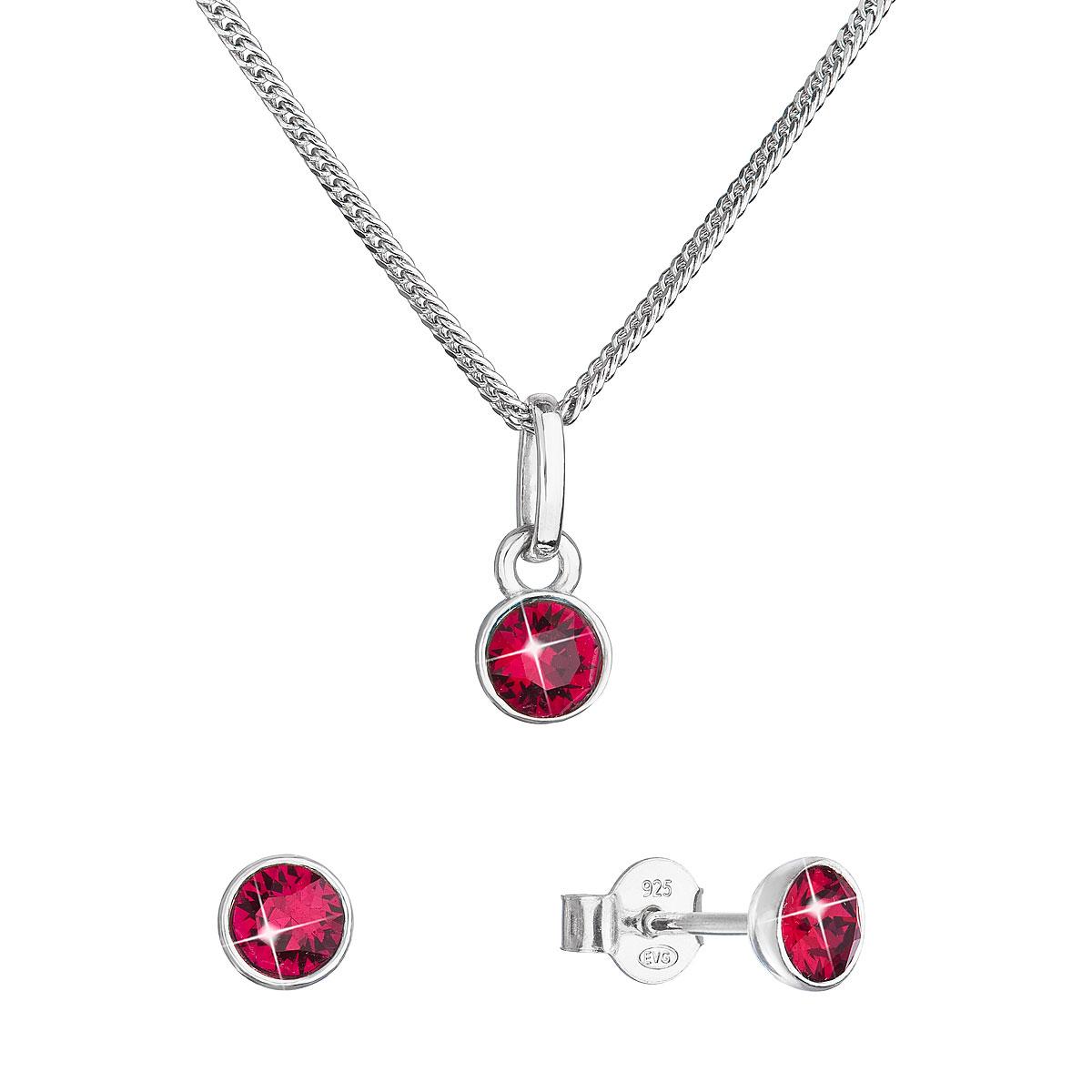 Sada šperkov s kryštálmi Swarovski náušnice, retiazka a prívesok červené 39177.3 ruby
