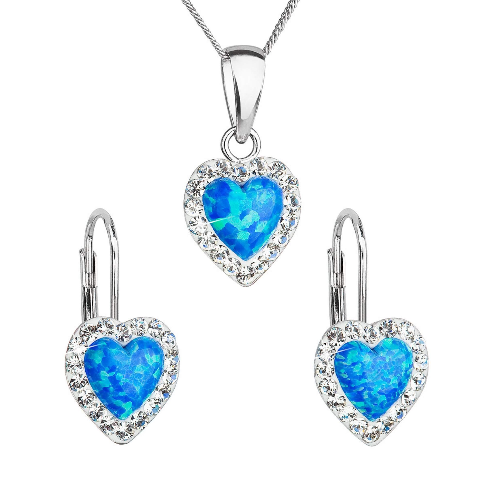Sada šperkov so syntetickým opálom a krištálmi Preciosa náušnice a prívesok modré srdce 39161.1