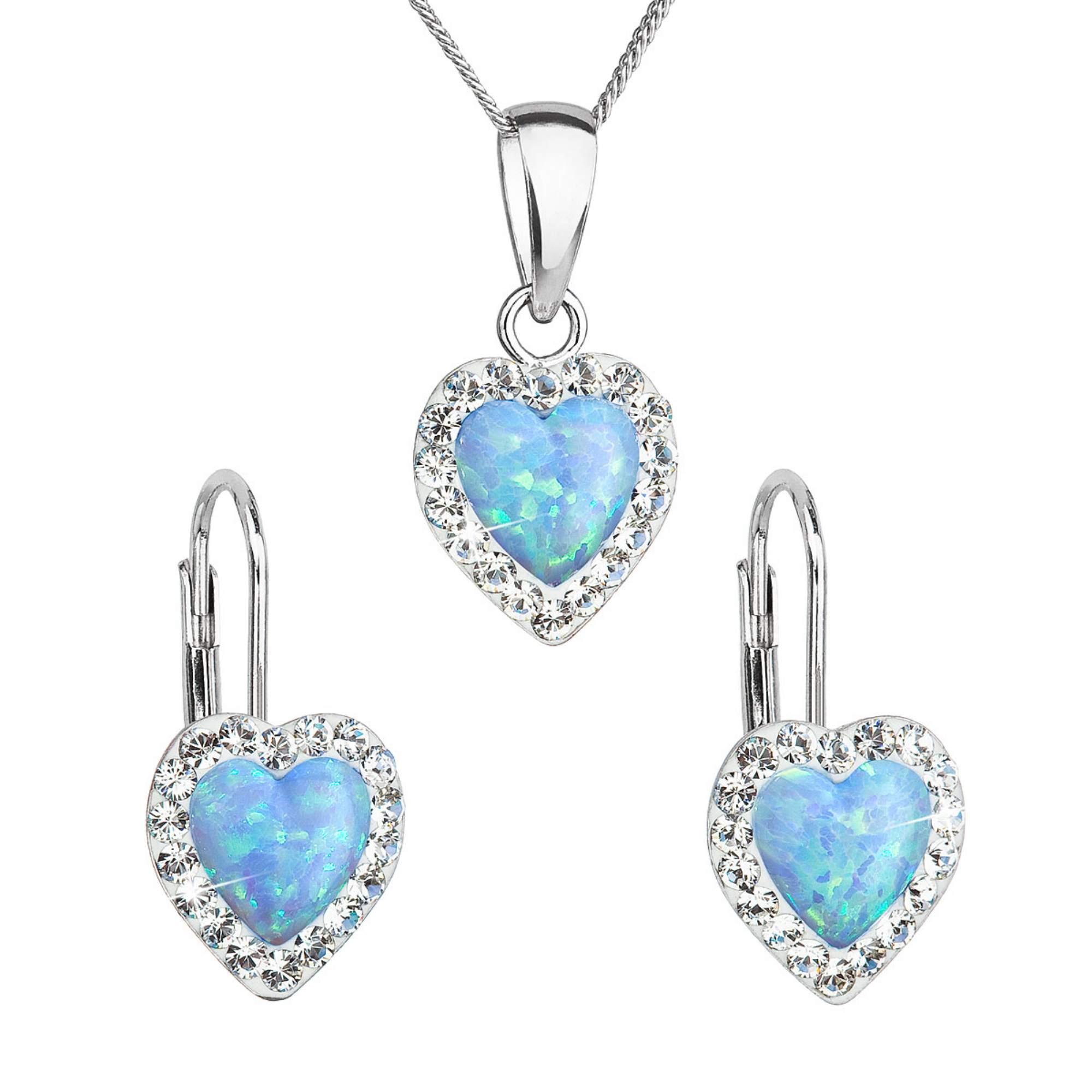 Sada šperkov so syntetickým opálom a krištálmi Preciosa náušnice a prívesok svetlo modré srdce 39161.1