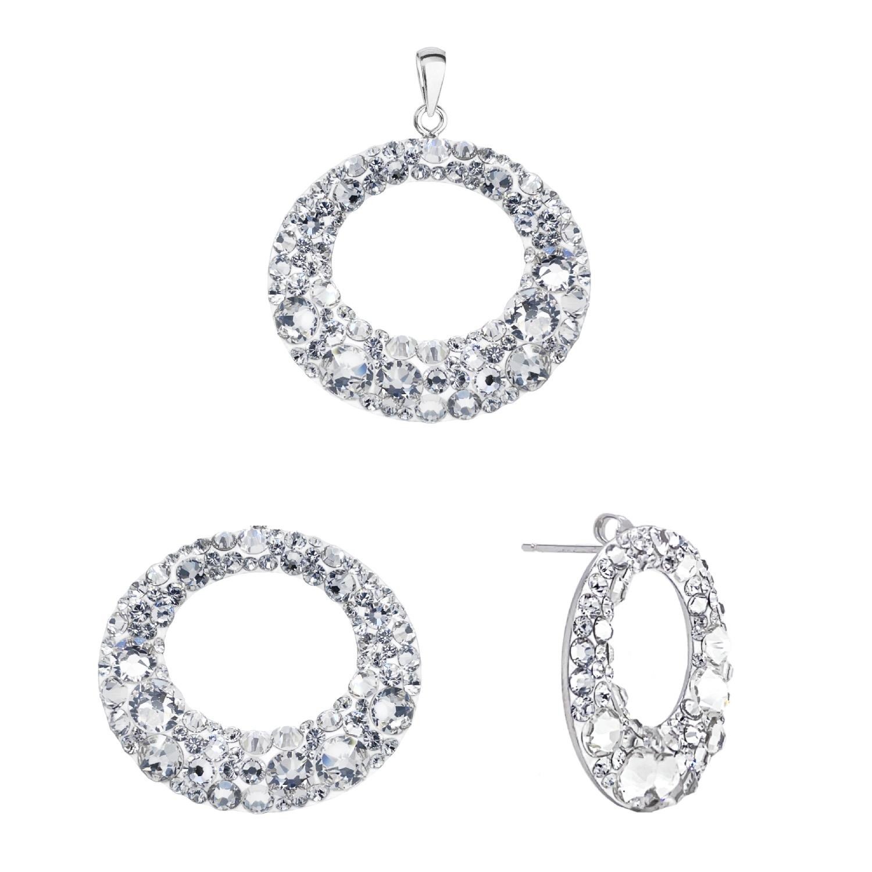 Sada šperkov s kryštálmi Swarovski náušnice a prívesok biele kruhy 39168.1