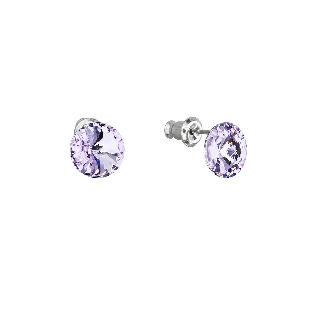 Náušnice bižutéria so Swarovski krištáľmi fialové okrúhle 51037.3 violet