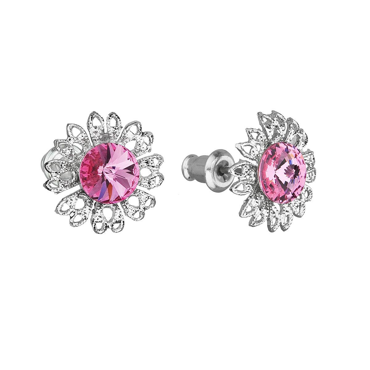 Náušnice bižutéria so Swarovski krištáľmi ružový kvietok 51042.3 rose