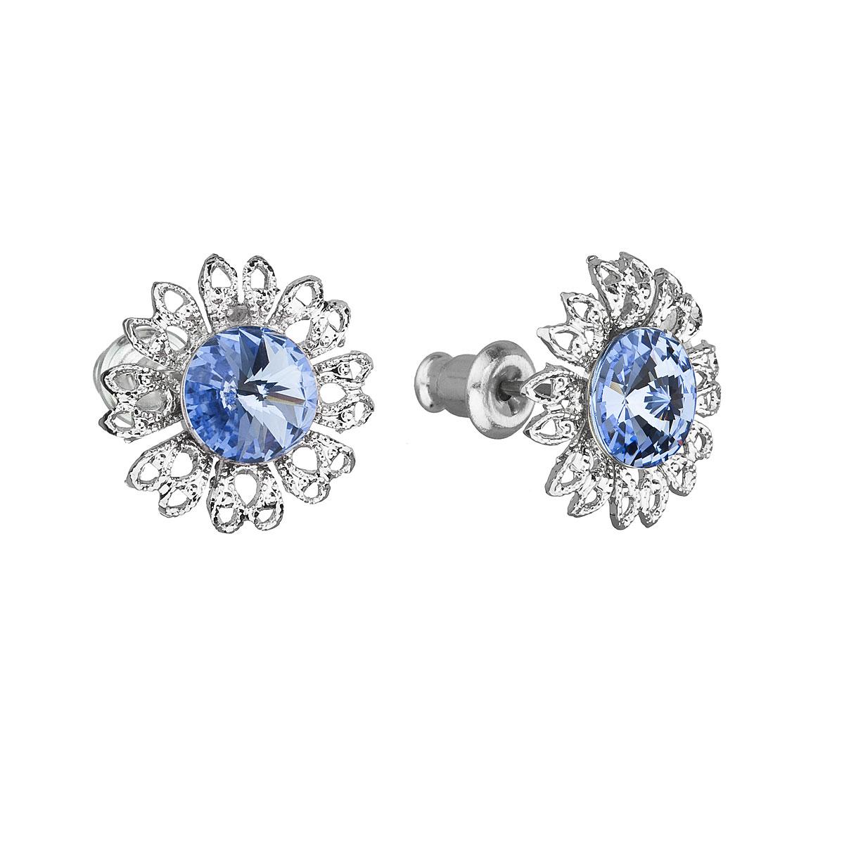 Náušnice bižutéria so Swarovski krištáľmi modrý kvietok 51042.3 light sapphire