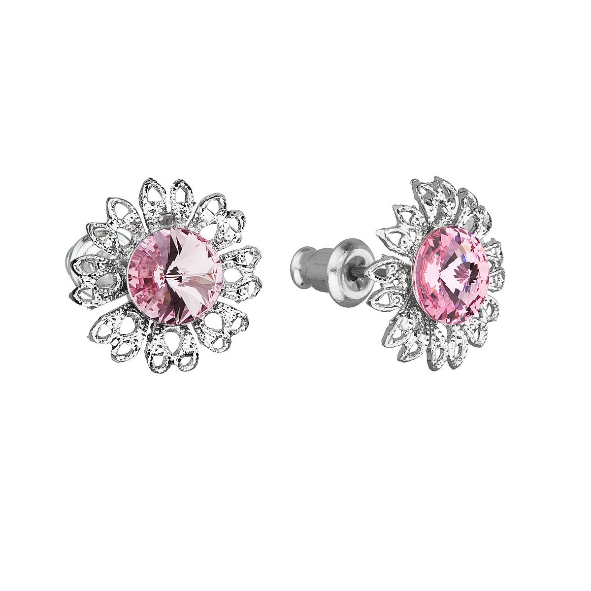 Náušnice bižutéria so Swarovski krištáľmi ružový kvietok 51042.3 light rose