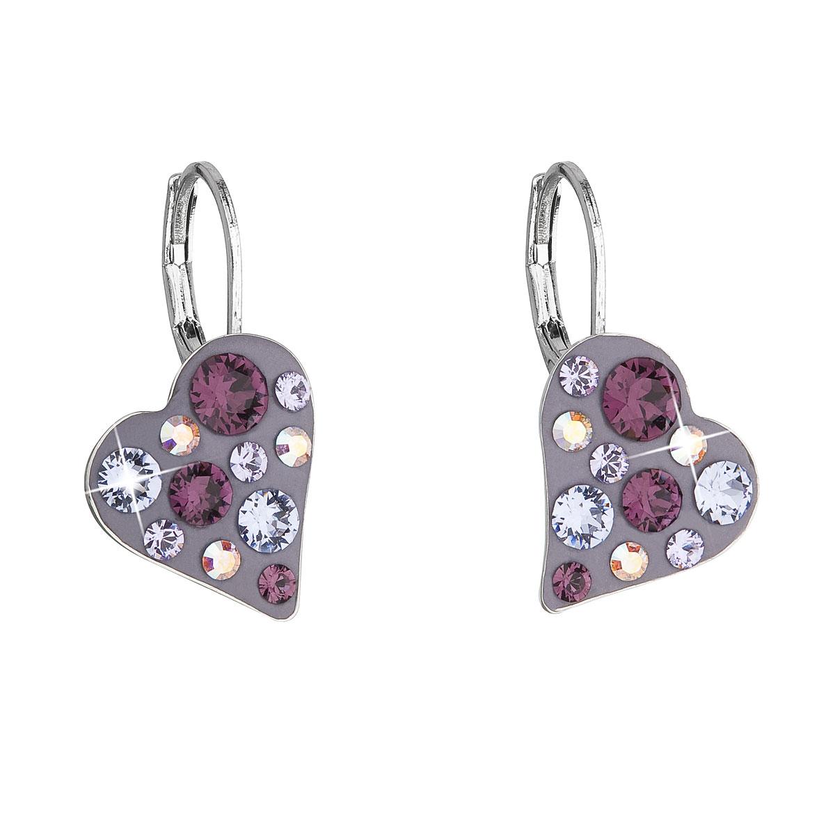 Náušnice bižutéria so Swarovski krištáľmi fialovej srdce 51043.3